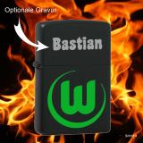 Zippo-Feuerzeug - VfL Wolfsburg - Farbe: schwarz matt - optional mit individueller Gravur
