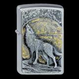 Zippo-Feuerzeug - Emblem Wolf in the Moonlight - optional mit individueller Gravur