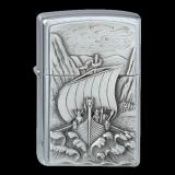 Zippo-Feuerzeug - Emblem Viking Fjord Ship - optional mit individueller Gravur