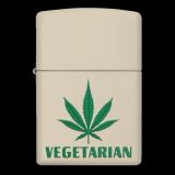 Zippo-Feuerzeug - Vegetarian Hanfblatt - optional mit individueller Gravur