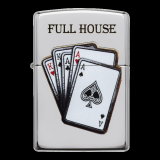 Zippo-Feuerzeug - Poker Full House - optional mit individueller Zippo-Schachtel-Gravur
