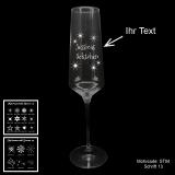 Sektglas - Sterne - mit Motivauswahl und individueller Gravur / Text