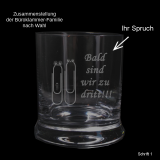 Whiskeyglas - Büroklammer-Familie - mit individuellem Text