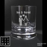 Whiskeyglas - Hochzeit - mit Motivauswahl und individueller Gravur / Namen und Datum