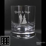 Whiskeyglas - Hochzeitspaar - mit Motivauswahl und individueller Gravur / Namen und Datum