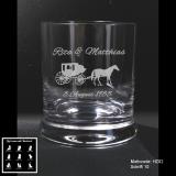 Whiskeyglas - Kutsche - mit Motivauswahl und individueller Gravur / Namen und Datum