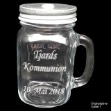 Retroglas Jar - Kommunion / Konfirmation - mit individueller Gravur / Name, Datum und Spruch