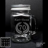 Retroglas Jar - Jubiläum - mit Wunschmotiv, Jubiläumszahl, Name(n) und Datum