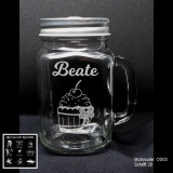 Retroglas Jar - Rockabella - mit Motivauswahl und individueller Gravur / Text und Datum