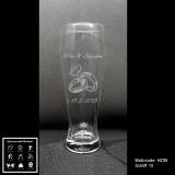 Weizenbierglas - Hochzeit - mit Motivauswahl und individueller Gravur / Namen und Datum