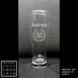 Weizenbierglas  - Jubiläum - mit Wunschmotiv, Jubiläumszahl, Name(n) und Datum