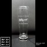 Weizenbierglas - Hochzeits-Kutsche - mit Motivauswahl und individueller Gravur / Namen und Datum
