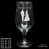 Biertulpe - Hochzeitspaar - mit Motivauswahl und individueller Gravur / Namen und Datum
