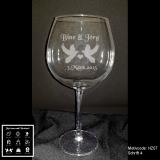 Rotweinglas - Hochzeit mit Motivauswahl und individueller Gravur / Namen und Datum