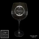 Rotweinglas - Vintage Circle - mit Motivauswahl und individueller Gravur / Name und Spruch