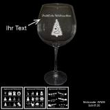 Rotweinglas - MERRY XMAS - mit Motivauswahl und individueller Gravur / Text