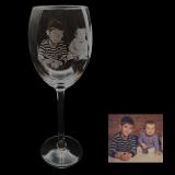 Weißweinglas mit Ihrem Lieblingsfoto und optionaler Textgravur auf der Rückseite