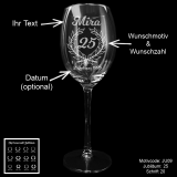 Weißweinglas - Jubiläum - mit Wunschmotiv, Jubiläumszahl, Name(n) und Datum