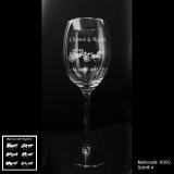 Weißweinglas - Kutsche mit Motivauswahl und individueller Gravur / Namen und Datum