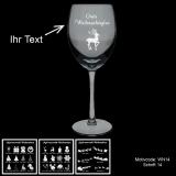 Weißweinglas - MERRY XMAS - mit Motivauswahl und individueller Gravur / Text