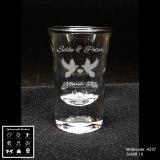 Schnapsglas - Hochzeit - mit Motivauswahl und individueller Gravur / Namen und Datum
