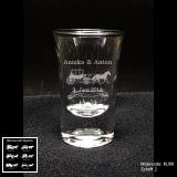 Schnapsglas - Kutsche - mit Motivauswahl und individueller Gravur / Namen und Datum