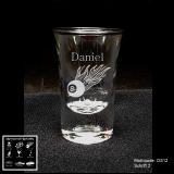 Schnapsglas - Rockabilly - mit Motivauswahl und individueller Gravur / Namen und Datum