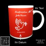 Tasse rot - Kommunion / Konfirmation - mit Wunschmotiv, individuellem Text und Datum