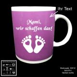 Tasse lila - Schwangerschaft - mit Motivauswahl und individueller Gravur / Spruch