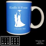 Tasse blau - Hochzeit- oder Brautpaar- Motivauswahl und individueller Gravur / Namen und Datum