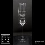 Sektglas - Love - mit Motivauswahl und individueller Gravur / Namen und Datum