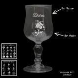 Weißweinglas Glamour - Flowers - mit Motivauswahl und individueller Gravur / Name
