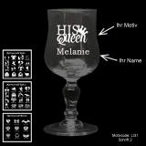 Weißweinglas Glamour - Love - mit Motivauswahl und individueller Gravur / Name
