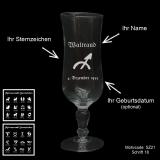 Sektglas Glamour - Sternzeichen - mit Motivauswahl und individueller Gravur / Name und Geburtsdatum
