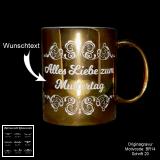 Goldene Keramik-Tasse -Blumenranke - mit Motivauswahl und Ihrem Wunschtext