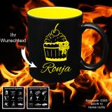 Tasse schwarz + gelb - Rockabilly / Rockabella - mit Motivauswahl und individueller Gravur / Name