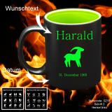 Tasse schwarz + grün - Sternzeichen mit Motivauswahl und individueller Gravur / Name und Datum