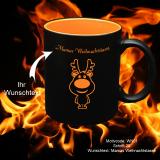 Tasse schwarz - Xmas - Gravur: orange - mit Motivauswahl und individueller Gravur / Text
