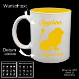 Tasse weiß + gelb - Sternzeichen mit Motivauswahl und individueller Gravur / Name und Datum