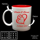 Tasse weiß + rot  - Hochzeit mit Motivauswahl und individueller Gravur / Name und Datum