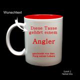 Tasse weiß + rot  mit Ihrem Wunschtext