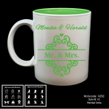 Tasse weiß + grün  - Hochzeit mit Motivauswahl und individueller Gravur / Name und Datum