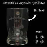 Bierseidel Taverna Glas mit Kartenspiel Schafkopf - 0,5l - mit indidivuellem Text
