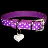 Hundehalsband  - Deluxe - lila mit Polka Dots und Herzchen-Anhänger Strass-Steinchen