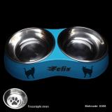Katzennapf Doppelnapf - Kitty - mit Name und Katzen Motivauswahl, hellblau, Größe S