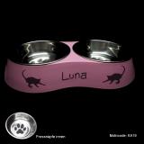 Katzennapf Doppelnapf - Kitty - mit Name und Katzen Motivauswahl, rosa, Größe S