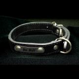 Hundehalsband - Boss - schwarz Größe M inklusive Metallschild mit Gravur