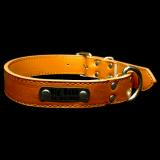 Hundehalsband - Boss - braun Größe XL inklusive Metallschild mit Gravur
