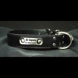 Hundehalsband - Boss - schwarz Größe XL inklusive Metallschild mit Gravur