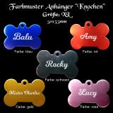 Hundemarke - Knochen - für Halsband mit beidseitiger Gravur in verschiedenen Farben / Größe L